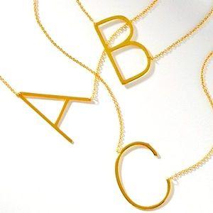 🍒3/$30 New Gold Block Monogram Necklace